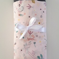 Large Muslin Cotton Wrap Bundle - Blossoms Wilderness  & Solid Dark Grey Wrap