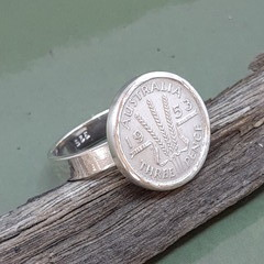 Sterling silver Threepence cocktail ring. Heirloom-Birthday-Anniversary