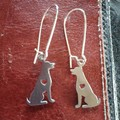 Silver kelpie / working dog earrings