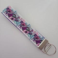Purple sea shell print key fob wristlet