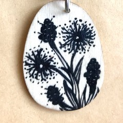 Botanical hand painted pendant with wooden beads - Floral - Limited edition