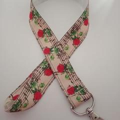 Red rose music note lanyard / ID holder / badge holder