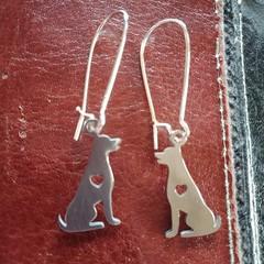 Silver kelpie / working dog earrings