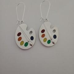 Silver paint pallet / artist earrings