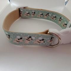 Light blue dog print adjustable dog collars