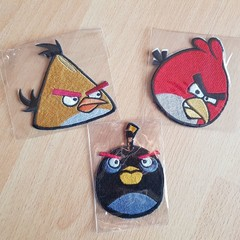 """Angry Bird Head"" Iron-on Badges."