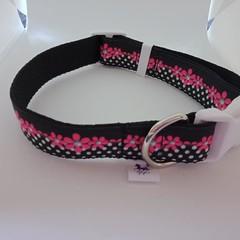 Pink and black flower adjustable dog collars