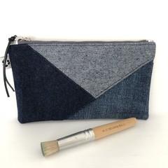 Denim Make-up Pouch, Upcycled Jeans Pencil Case, Unique Patchwork Zipper Purse