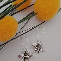 Silver bee charm earrings
