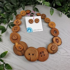 Natural Wooden Buttons - Button Necklace -  Button Earrings