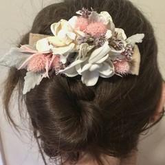 Gardenia - Hair clip - Dried flower - White pink grey - Natural -  Bride - Boho