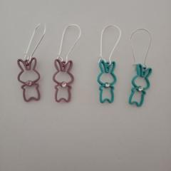 Silver bunny rabbit charm dangle earrings