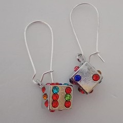 Silver and crystal dice charm earrings