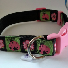 Pink and green ladybird and flower adjustable dog collars