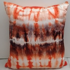 Tangarine/ Black Shibori Silk Cushion, Autumn SALE
