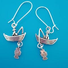 Silver fishing boat charm earrings