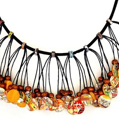 Statement Jewellery, Collage Paper Bead Necklace, Wearable Art | Muse Jewl | Aus