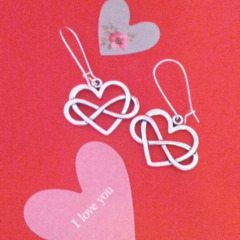 Silver heart infinity knot earrings