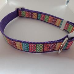 Purple geometric print dog collars