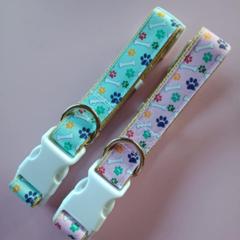 Pink and blue dog print adjustable dog collars