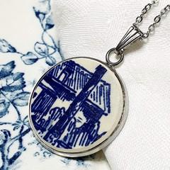 Dutch Delft Blue Cottage Pendant