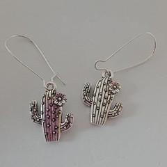 Silver cactus charm earrings