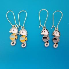 Silver enamel seahorse charm earrings