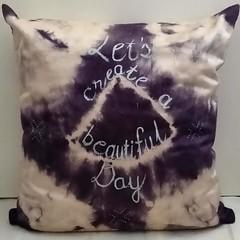 Black/ White Shibori Silk Cushion