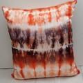 Tangarine/ Black Shibori Silk Cushion