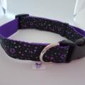 Purple and black star print adjustable dog collars