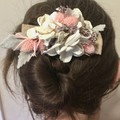 Gardenia - Hair clip - Dried flower - White pink grey - Natural -  Bride - Boho