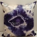 Navy/White Shibori Silk Cushion, ON SALE