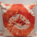 Tangarine / White Shibori Silk Cushion, XMas Gift for Home