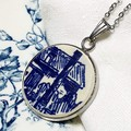 Dutch Delft Blue Cottage Pendant