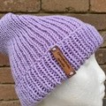 Mens or ladies purple merino knitted beanie