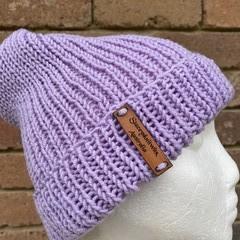 Mens or ladies purple merino knitted beanie