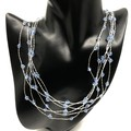 Necklace - Silver Plated Crocheted Wire with Blue Swarovski Crystals