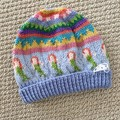 Blue Mermaid Beanie - to fit approx size 1-3 years -hand knitted