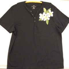 Black T-Shirt with Grandpa Collar and Handprinted with Frangipani Flowers