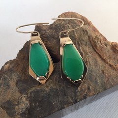 Gold Chrysoprase earrings.