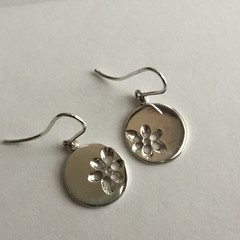 Pierced floral motif flat disk drop earrings handcrafted in sterling silver 925