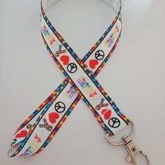 Autism peach and love lanyard