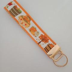 Autumn harvest scarecrow key fob wristlet