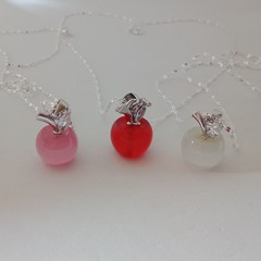 925 sterling silver apple charm pendant necklaces
