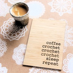 Crochet Art, Coffee Sleep Crochet, Crochet Quote, Craft Room Decor