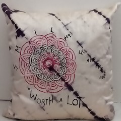 Red and Black Mandala on Silk Cushion