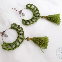 Rustic Boho Crochet Fringed Hoop Long Tassel Drop Earrings - Customised Colour