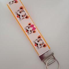Tiger print key fob wristlet