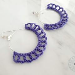 Minimalist Simple Thin Wire Hoop Crochet Earrings - Customised Colour