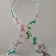 Rainbow unicorn print lanyard / ID holder / badge holder